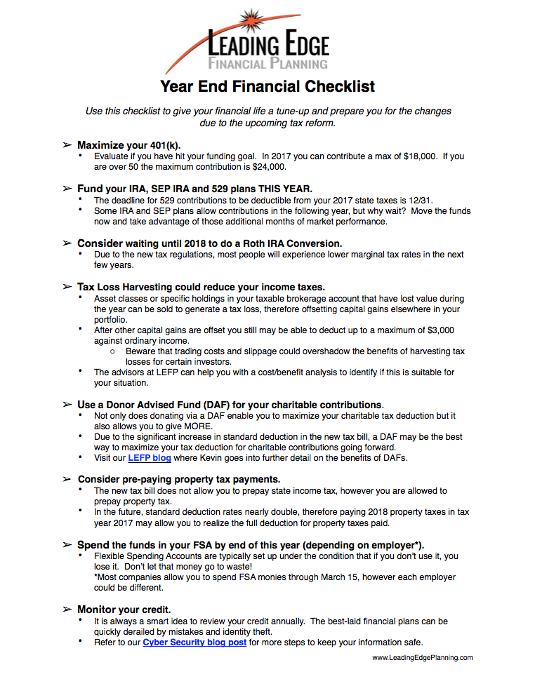end of year financial checklist lefp