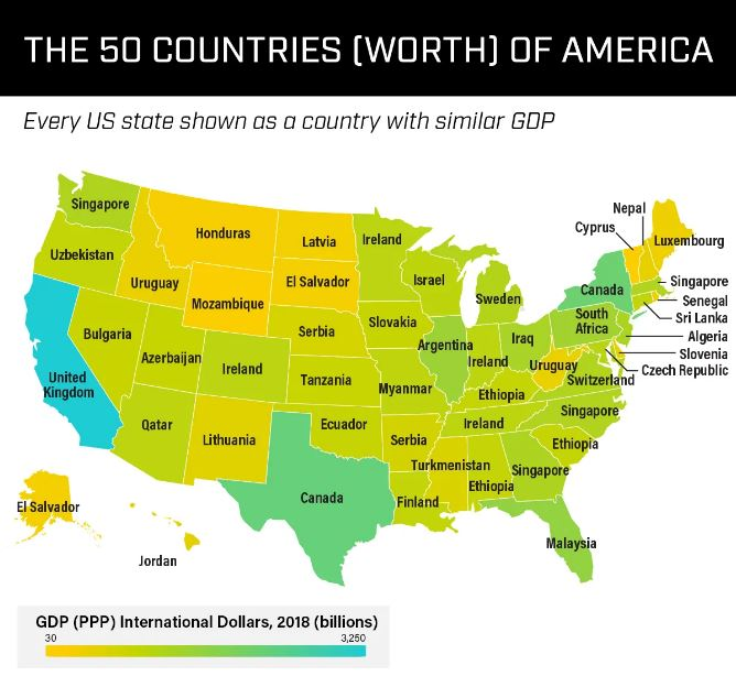 The 50 Countries [Worth] of America