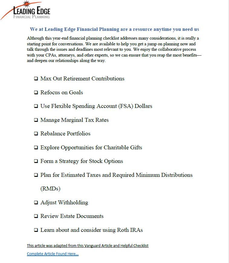 End of Year Checklist 2020